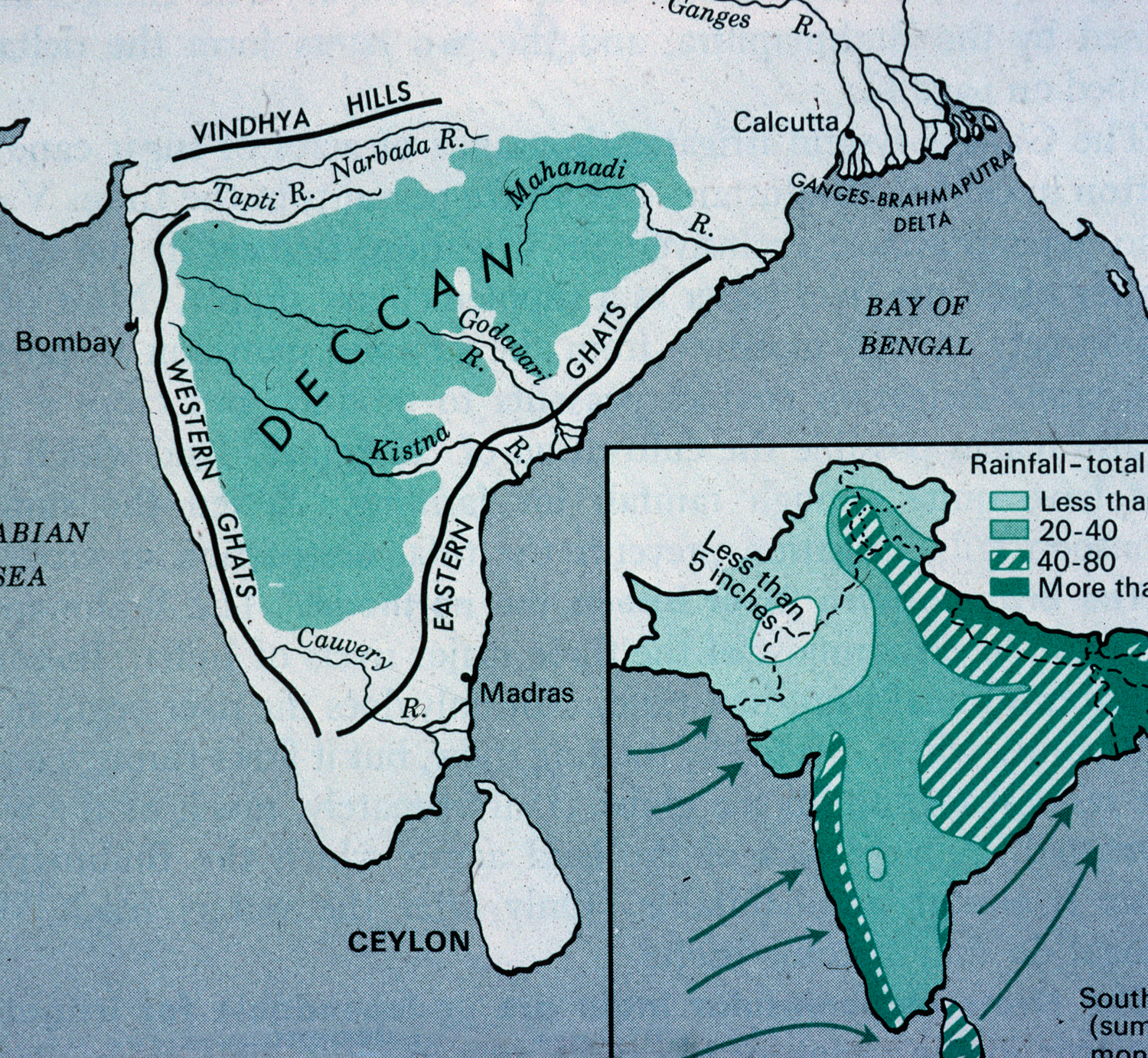 Map 9f Asia.Map Of India Showing The Deccan Plateau Mit Libraries