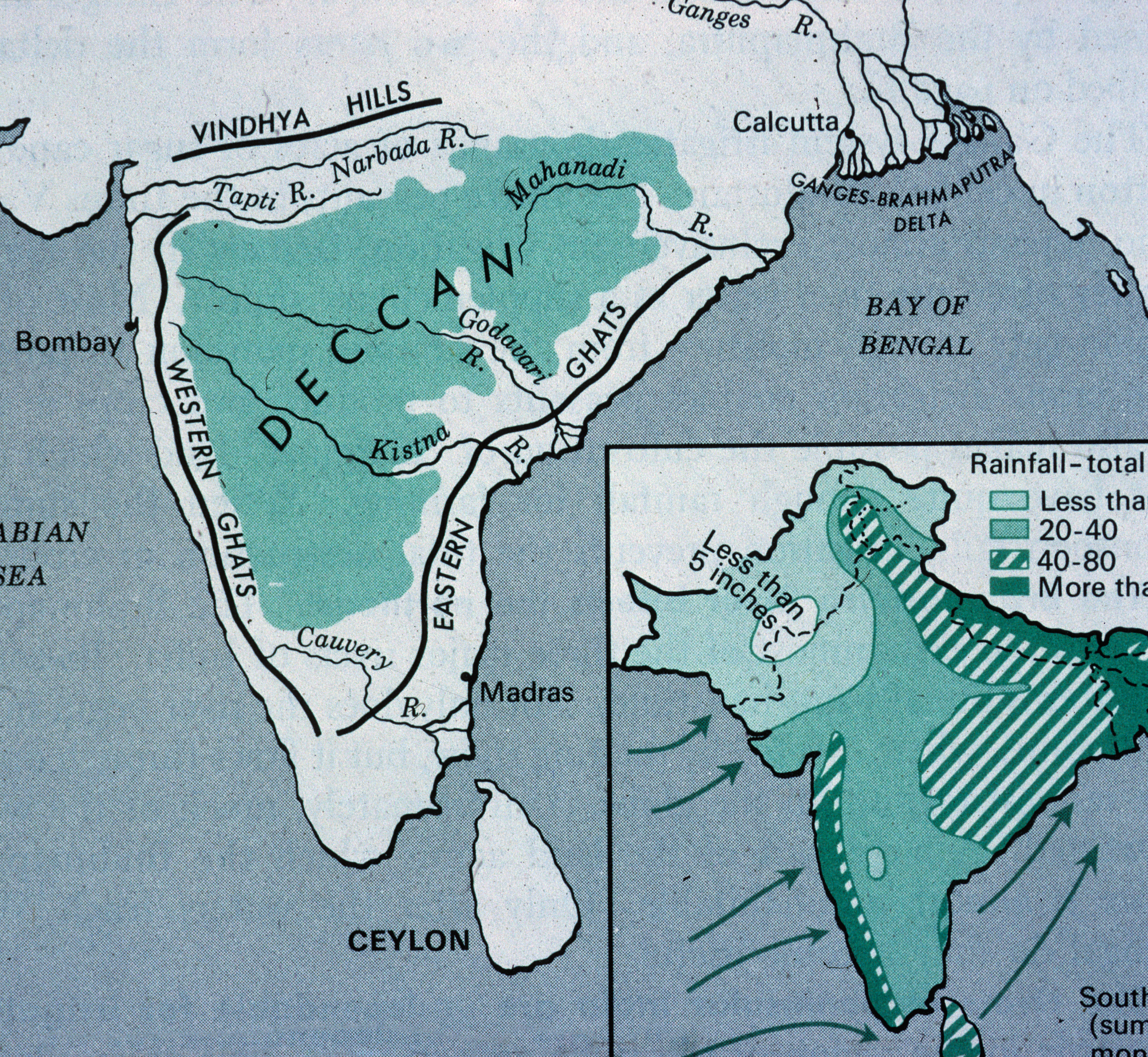Map of India Showing the Deccan Plateau : MIT Liries Deccan Plateau Map on